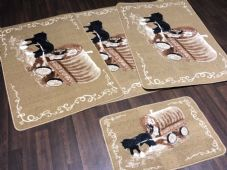 ROMANY GYPSY WASHABLES  2018 SETS OF 4 MATS BEIGES-BROWN NON SLIP HORSE & WAGON